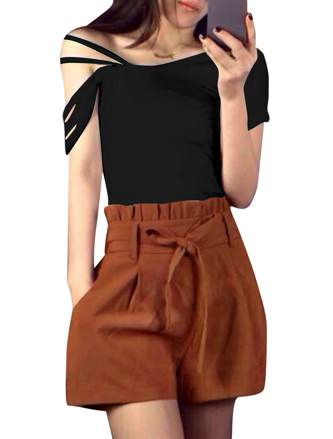 Lady Strappy Design Casual Top Black w Self Tie Waist Strap Shorts Rust XS