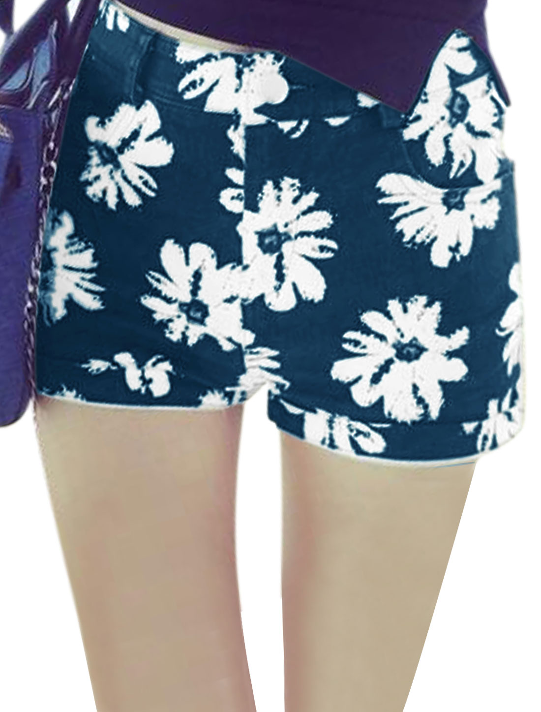 Lady Belt Loop Zip Fly Floral Prints Pockets Design Casual Shorts Dark Blue S