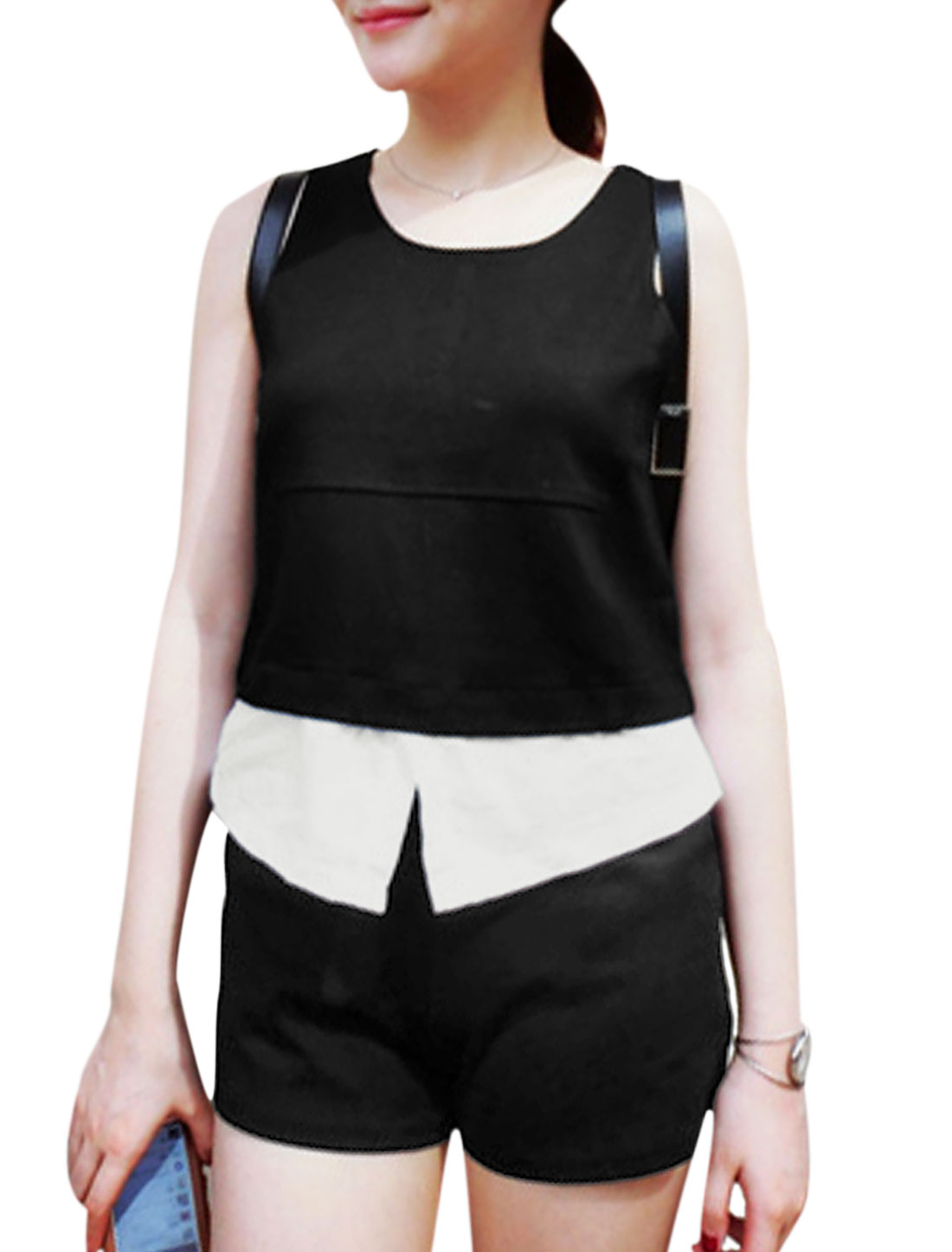 Lady Round Neck Panel Top w Elastic Waist Shorts Black XS