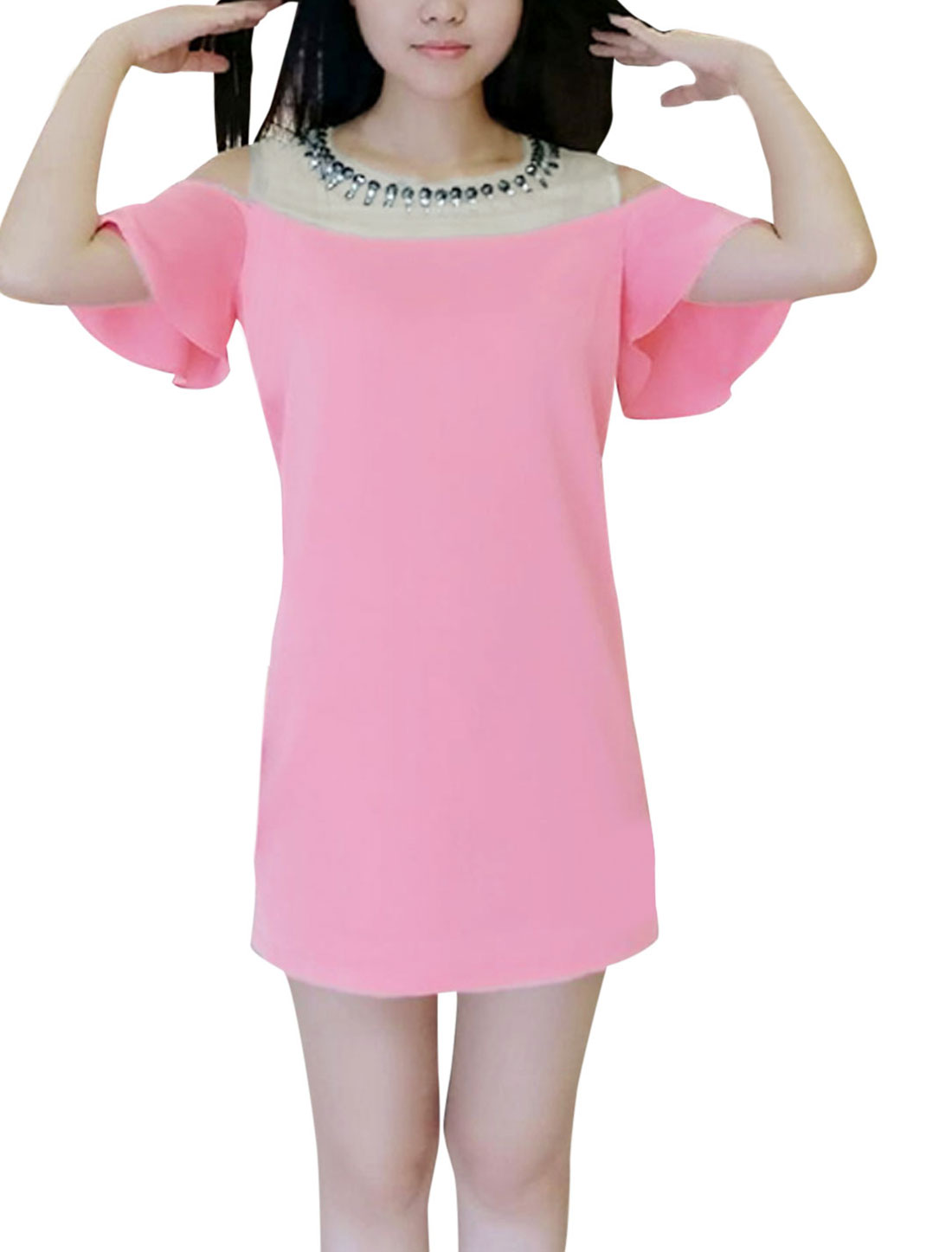 Lady Cut Out Shoulder Mesh Splice Sequined Decor Casual Dress Pink XS
