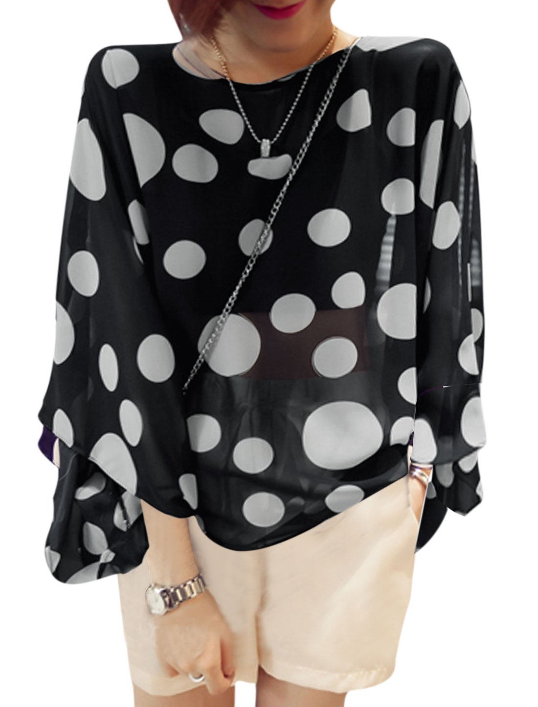 Ladies Dots Pattern Round Neck Batwing Sleeve Black Chiffon Blouse XS
