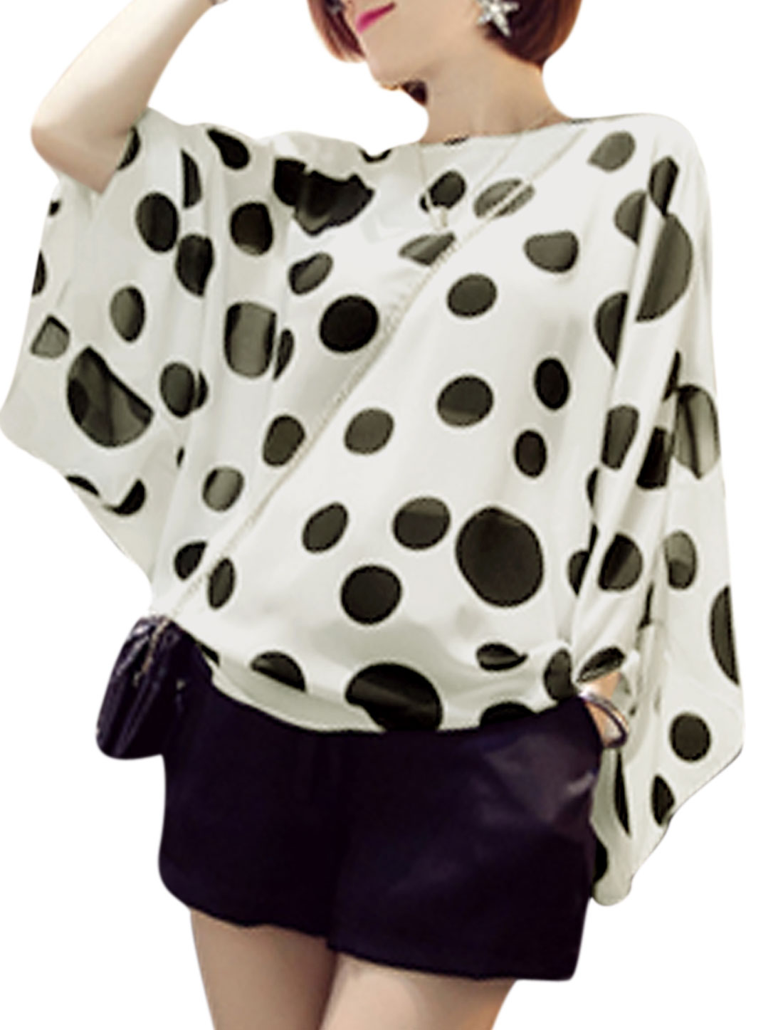 Ladies Dots Pattern Pullover Batwing Sleeve White Casual Chiffon Blouse XS