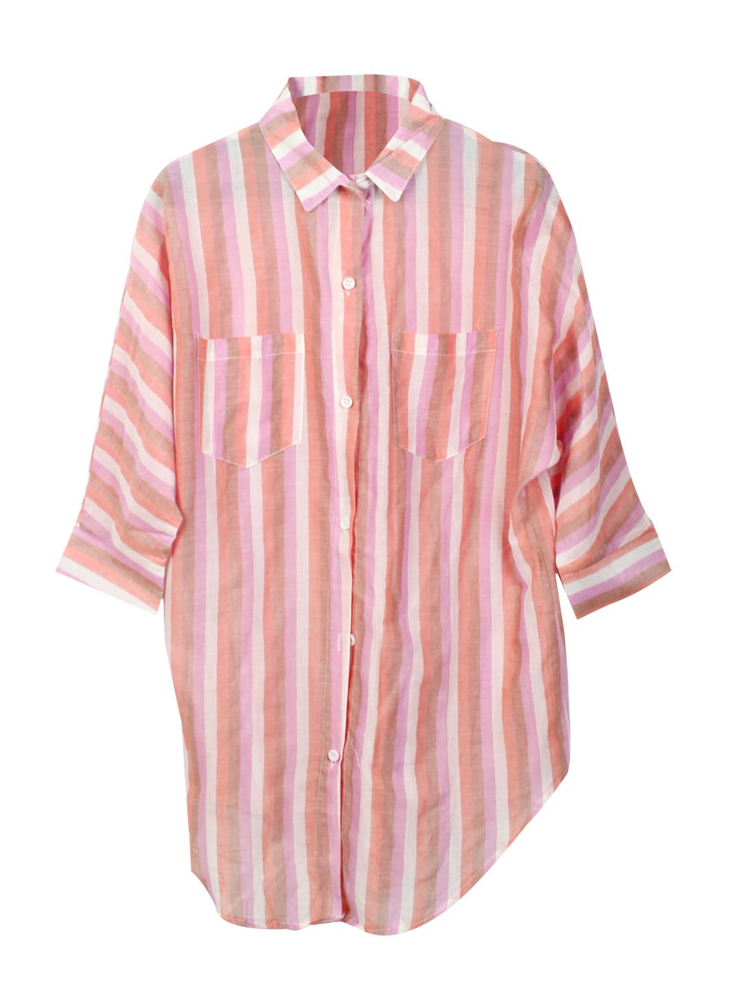Ladies Point Collar Stripes Pattern Loose Linen Shirt Pink Brown XS