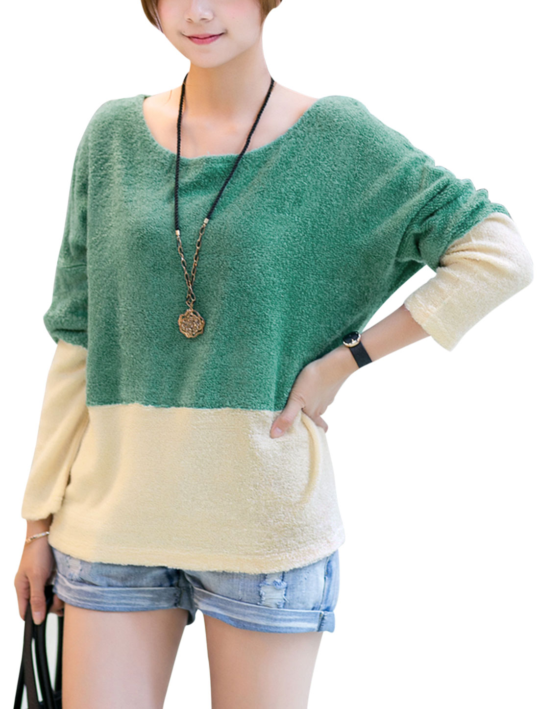 Lady Round Neck Long Batwing Sleeve Colorblock Knit Shirt Beige Green M