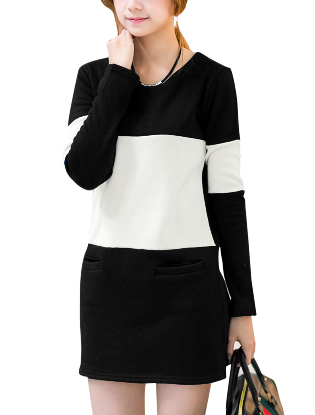 Lady Long Sleeve Colorblock Fleece Inside Soft Dress White Black S