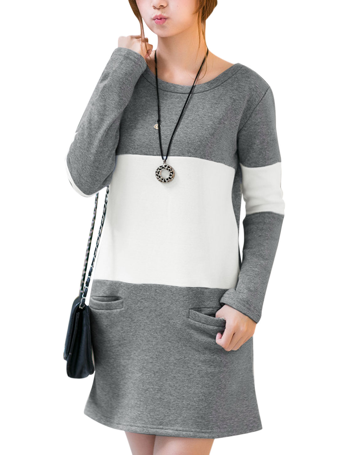 Lady Long Sleeve Contrast Color Fleece Inside Soft Dress White Gray S