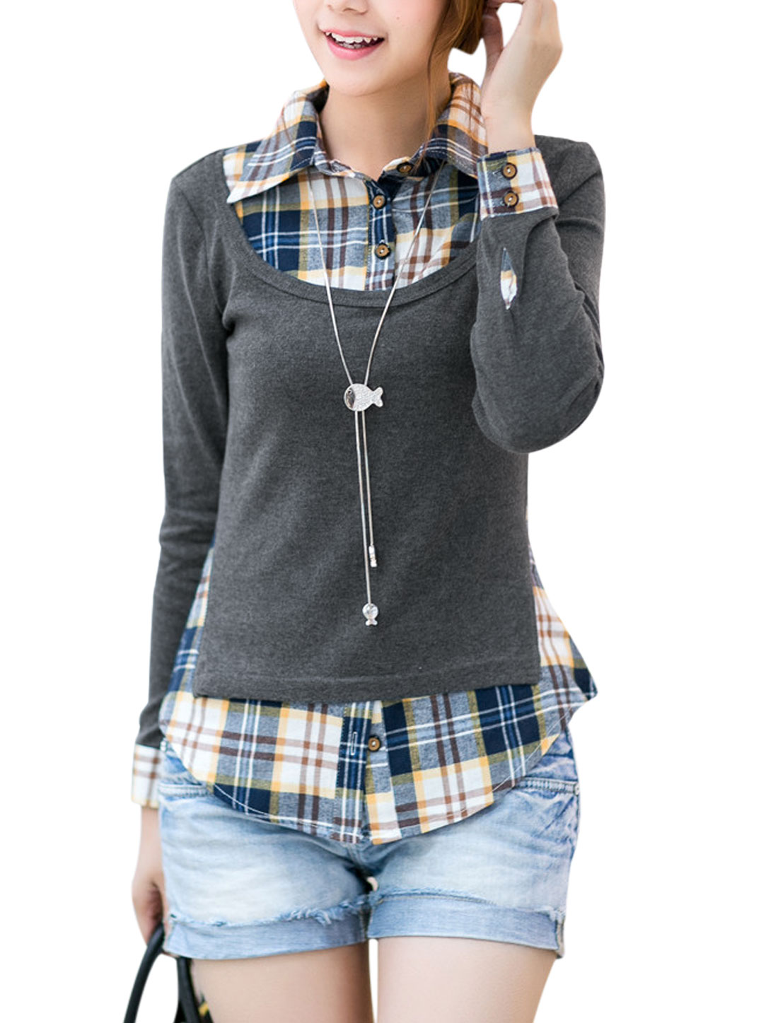 Lady Long Sleeve Plaids Layered Shirts Panel Design T-Shirt Dark Gray S