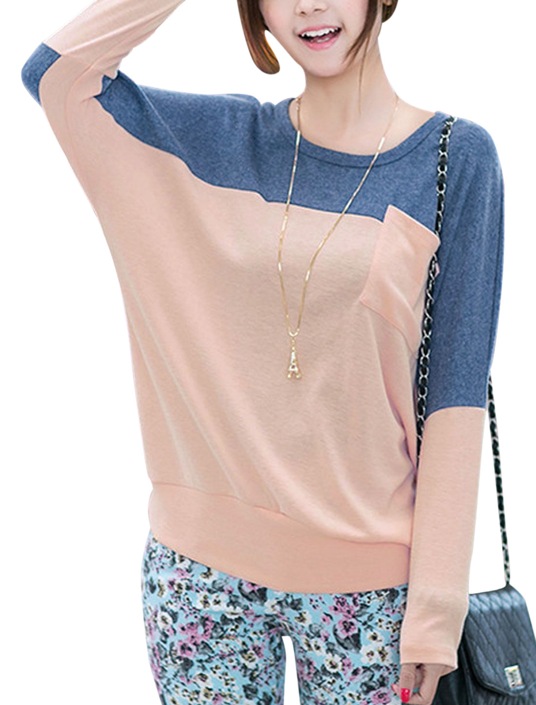 Lady Batwing Sleeve One Chest Pocket Front Colorblock T-Shirt Pink Dark Blue S
