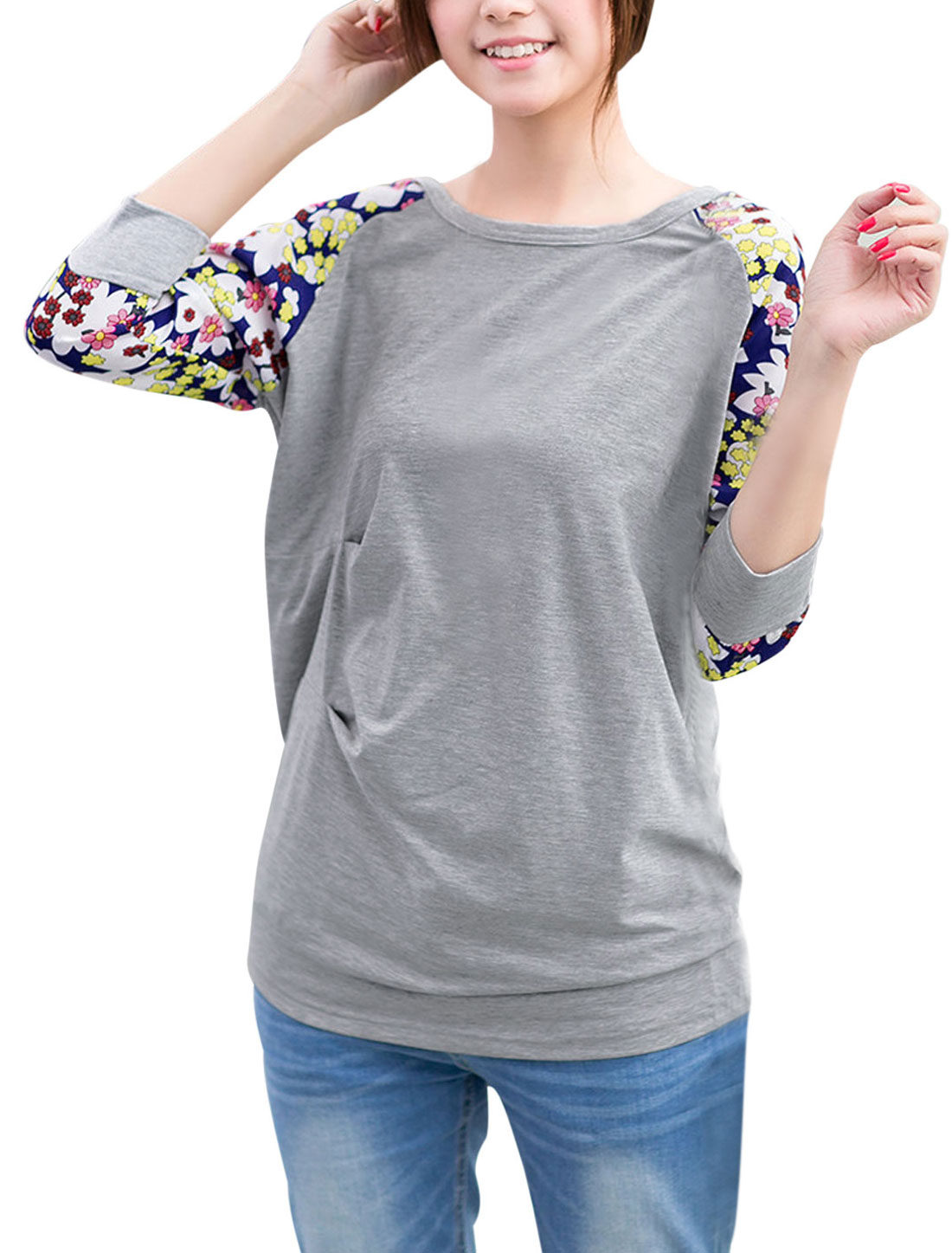 Lady Chiffon-Patch 3/4 Raglan Sleeve Floral Prints Tunic Top Gray M