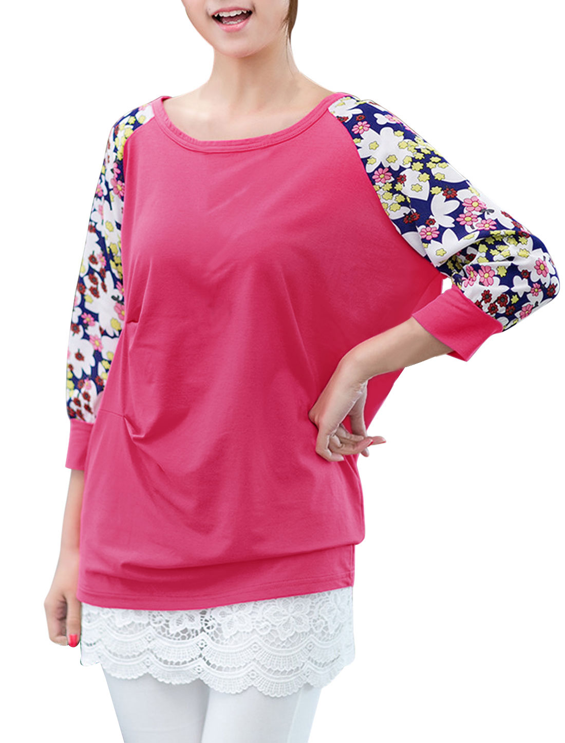 Lady Chiffon-Patch 3/4 Raglan Sleeve Flower Pattern Tunic Top Fuchsia M