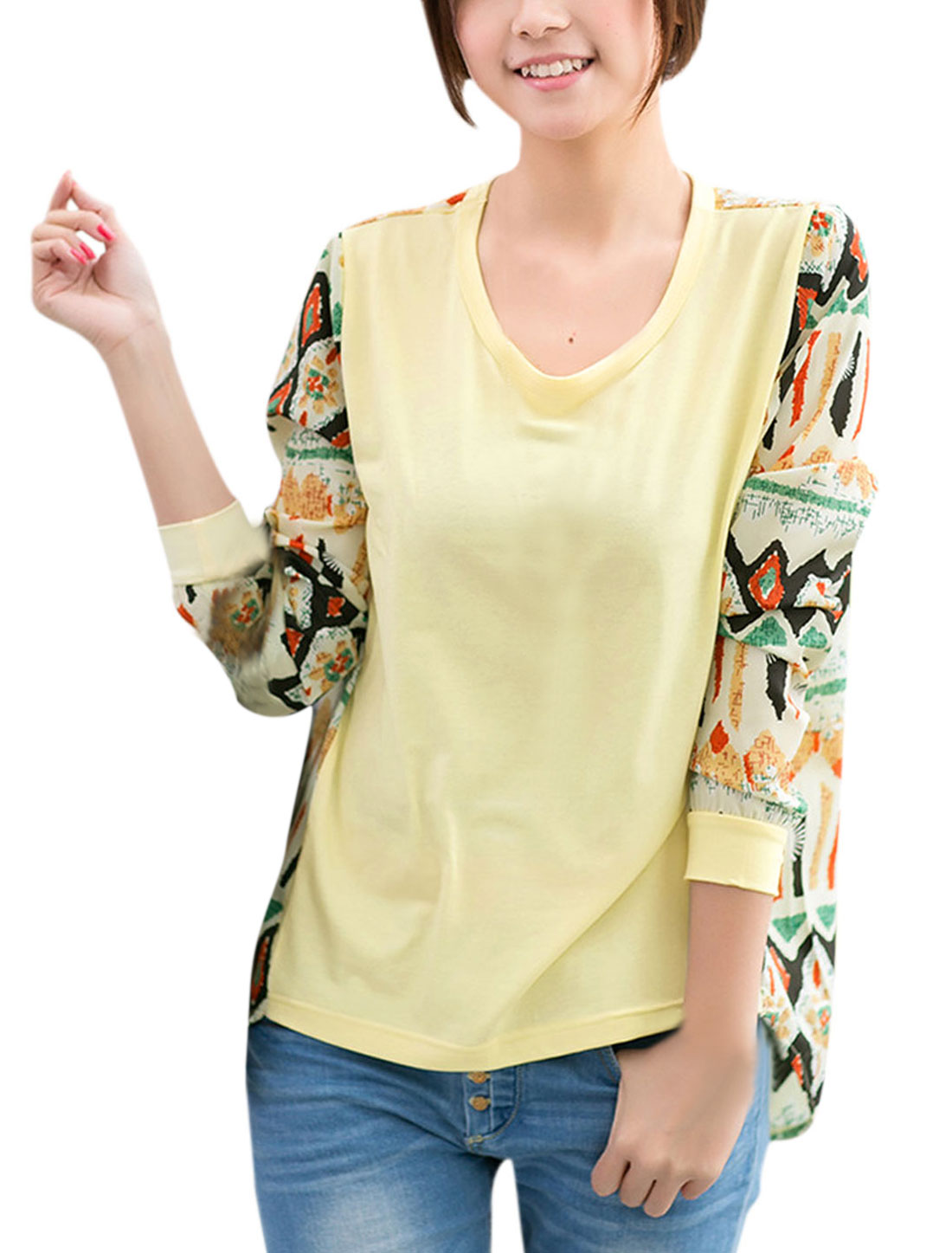 Lady Panel Design High Low Hem Argyle Prints T-Shirt Light Yellow XS