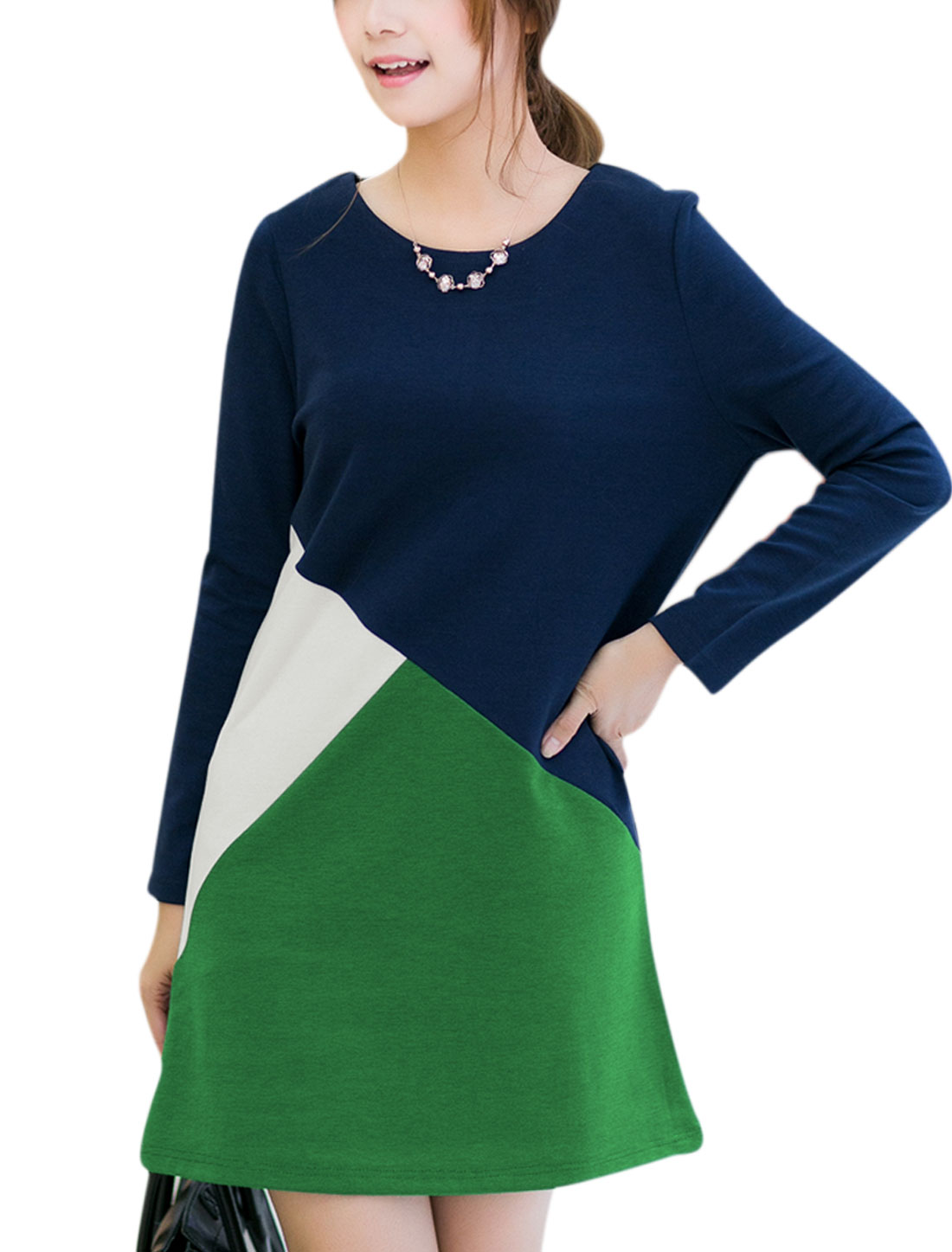 Women Round Neck Long Sleeved Colorblocking Tunic Dress Green Navy Blue S