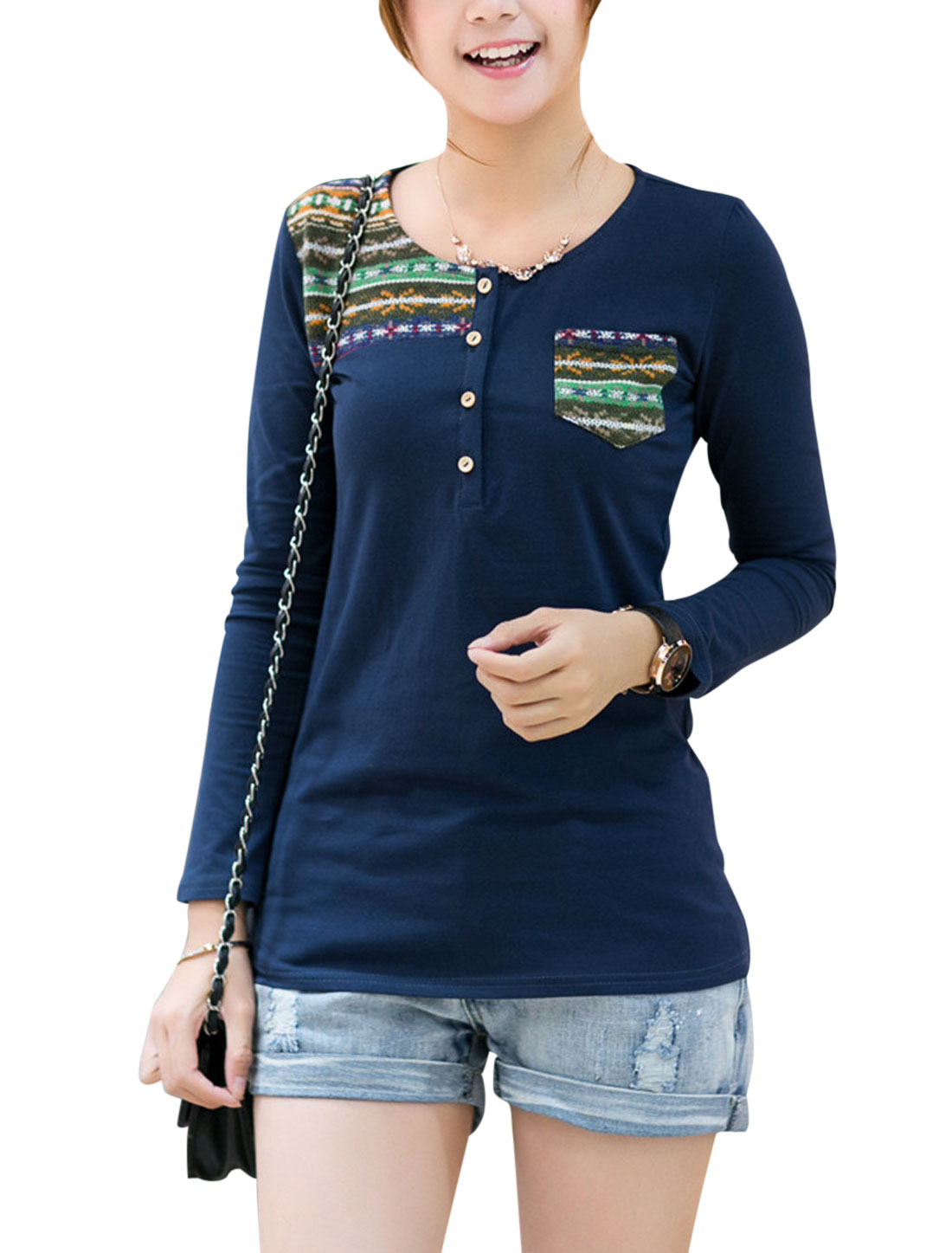 Lady One Pocket Chest Panel Geometric Pattern Casual Henley Shirt Navy Blue XS