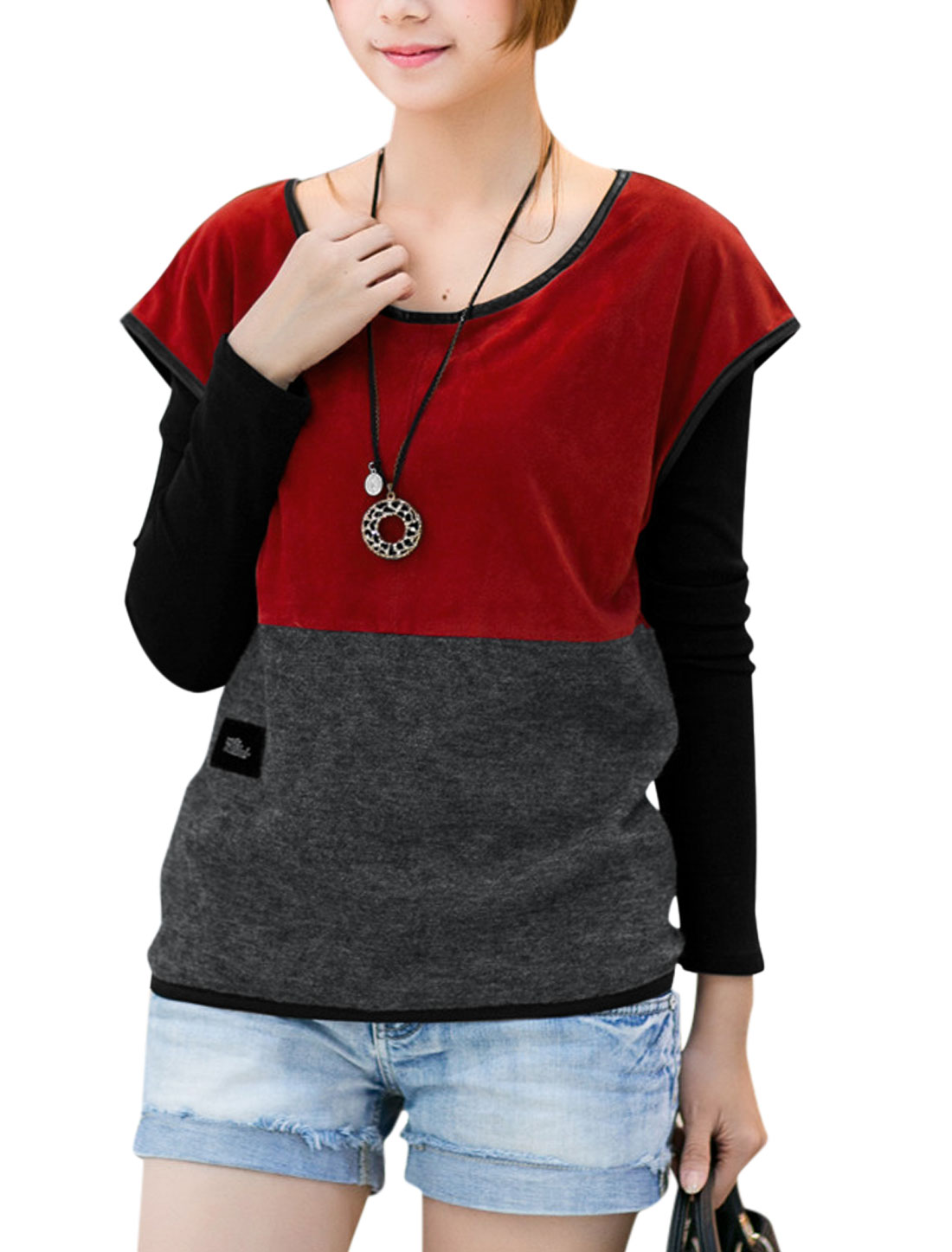 Lady Long Sleeve Layered Shirts Colorblock T-Shirt Red Dark Gray S