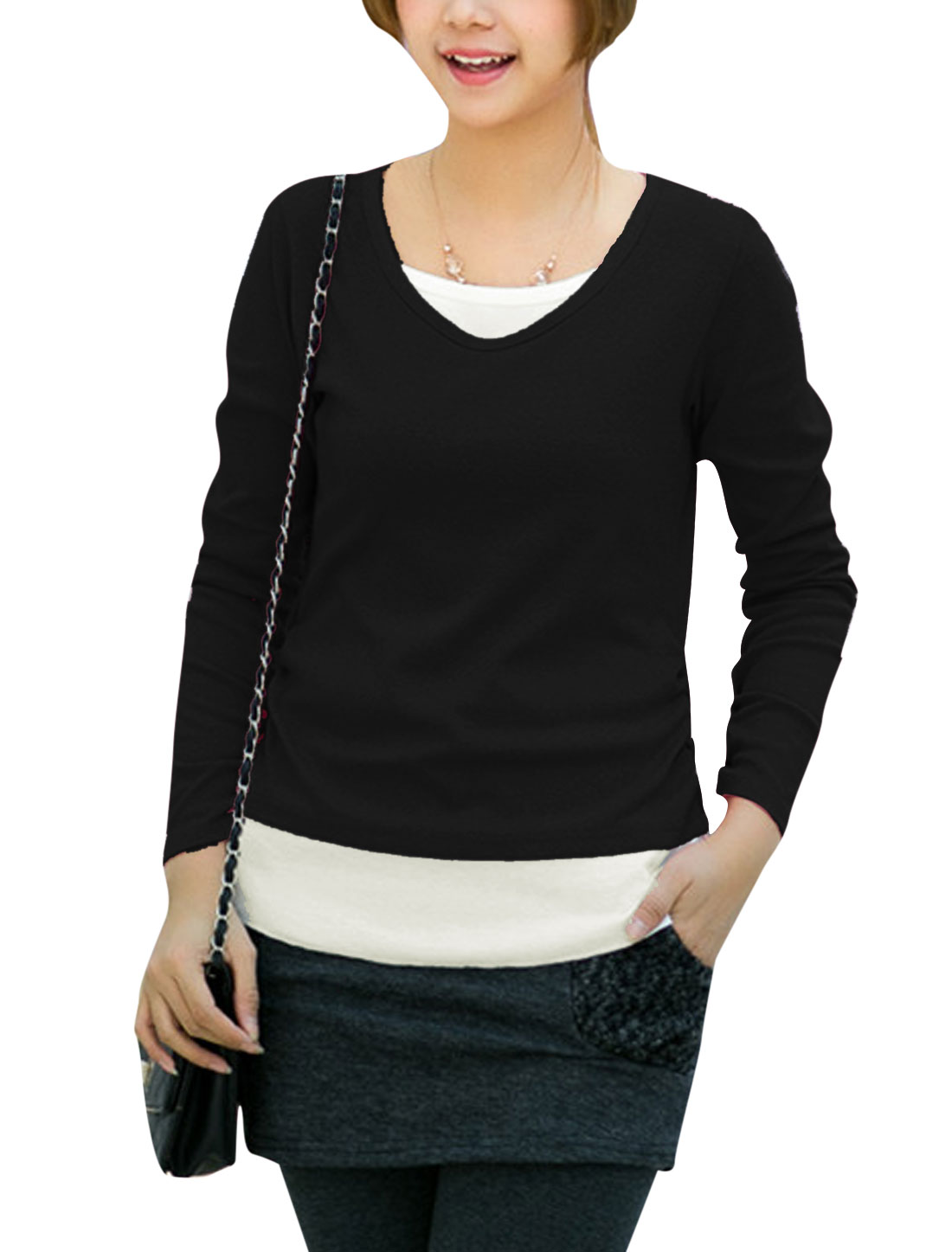 Ladies Round Neck Long Sleeve Panel Tee Shirt Black S