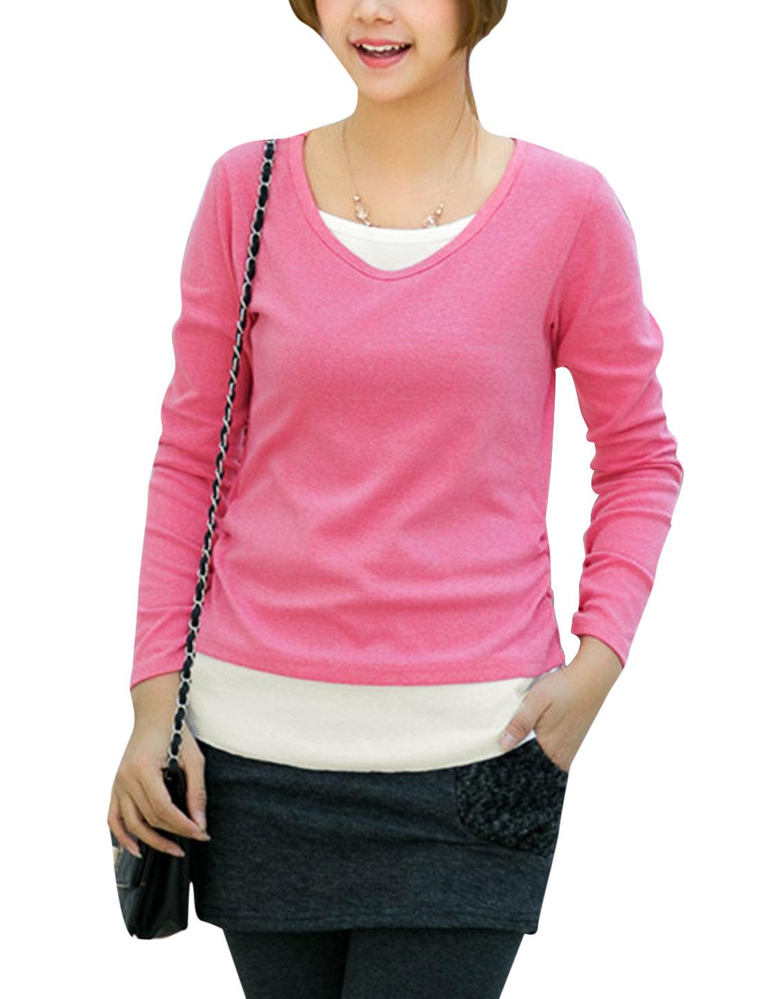 Ladies Pullover Long Sleeve Panel Tee Shirt Pink S