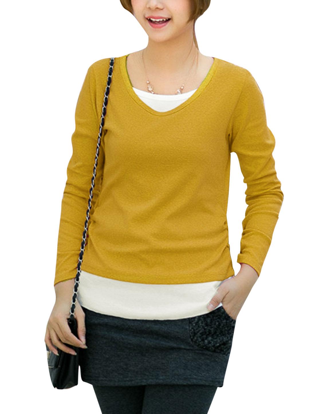 Ladies Round Neck Long Sleeve Slim Tee Shirt Yellow S