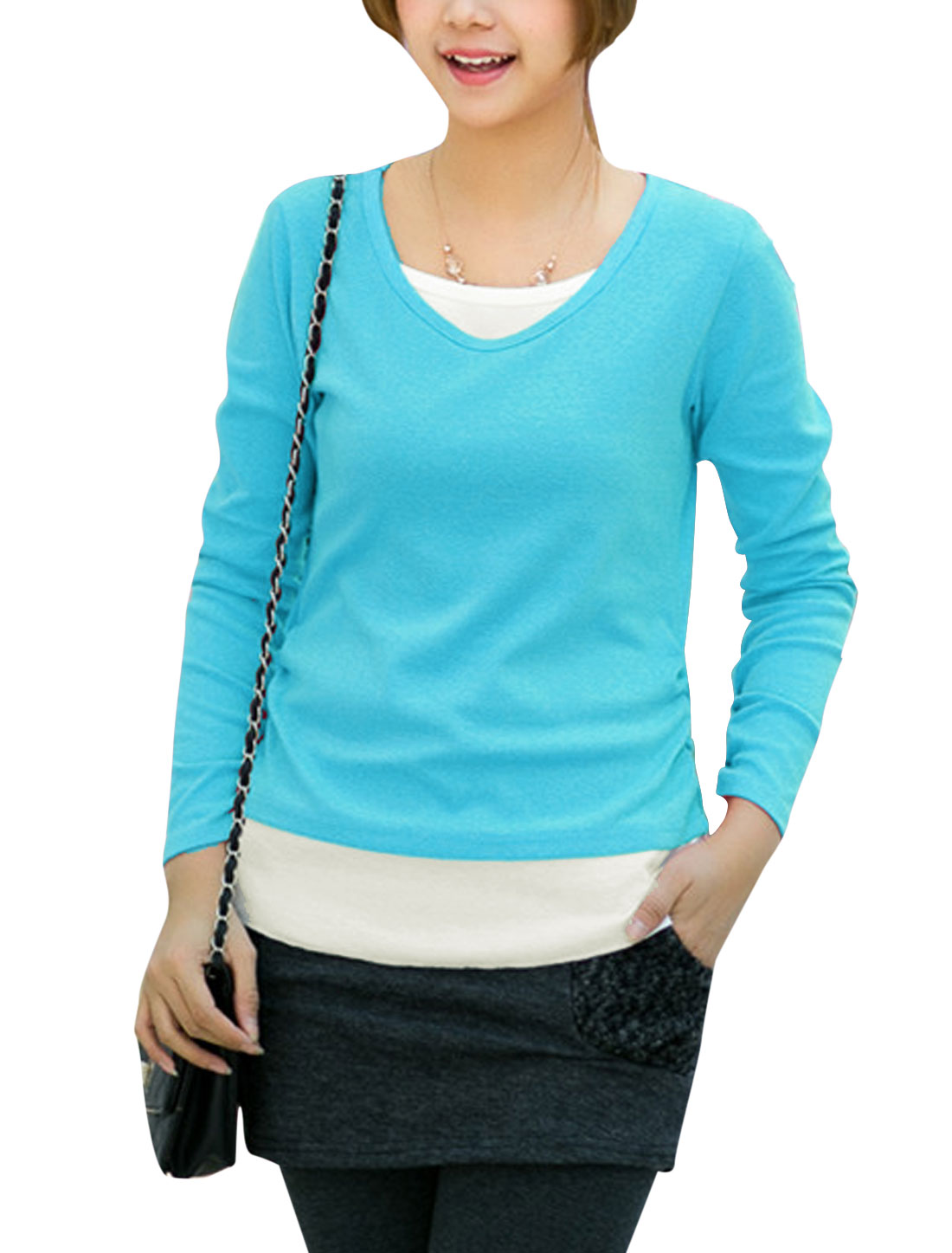 Ladies Round Neck Pullover Panel Tee Shirt Blue S