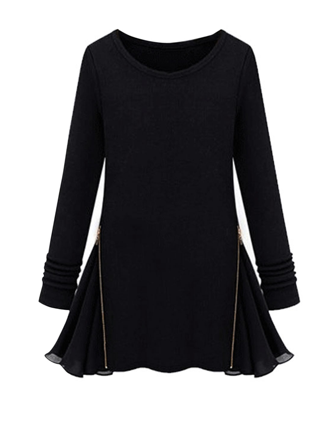 Lady Long Sleeve Zipper Decor Chiffon Patchwork Tunic Top Black S