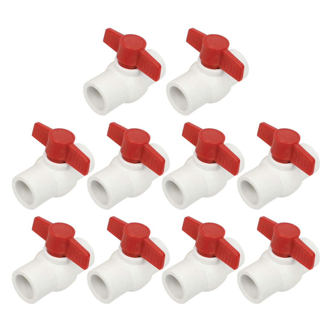 10pcs Plumbing Red T Handle PPR Pipe Fitting Ball Valve 31mmx31mm