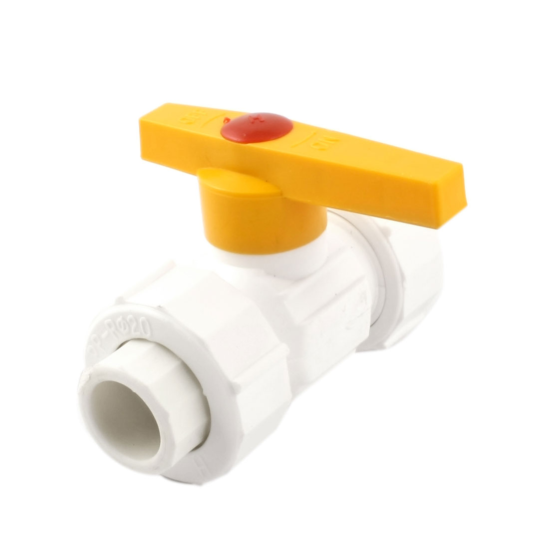 Yellow T Handle 20x20mm PPR Pipe Fitting Double Union Ball Valve White
