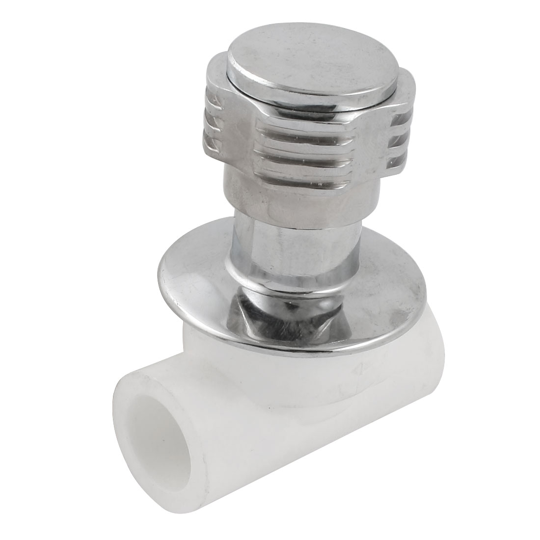 White Silver Tone Rotatable Handle Water Concealed Stop Valve 24mm x 24mm