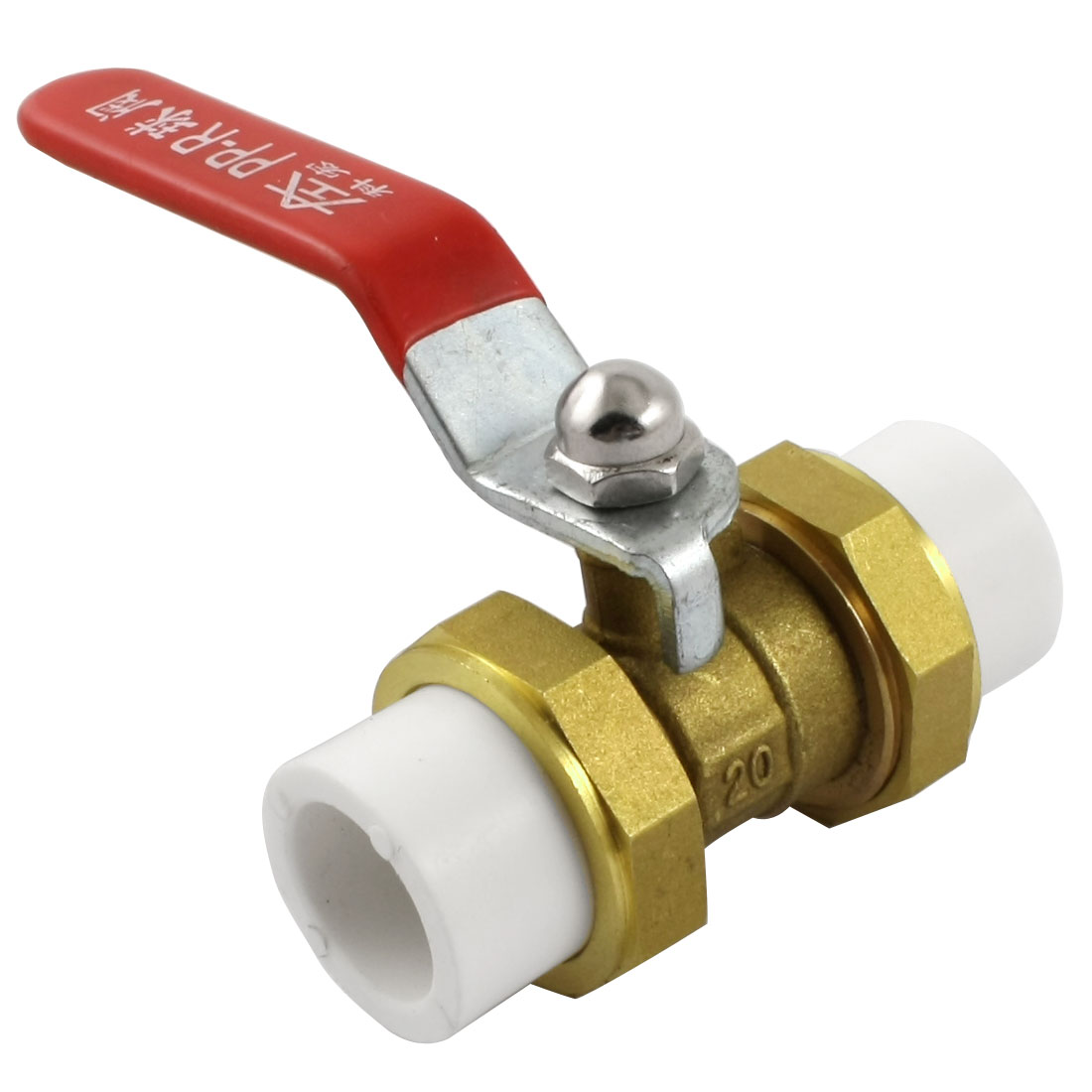 Double Headed 19mm to 19mm Red Lever Handle Brass PPR Ball Valve