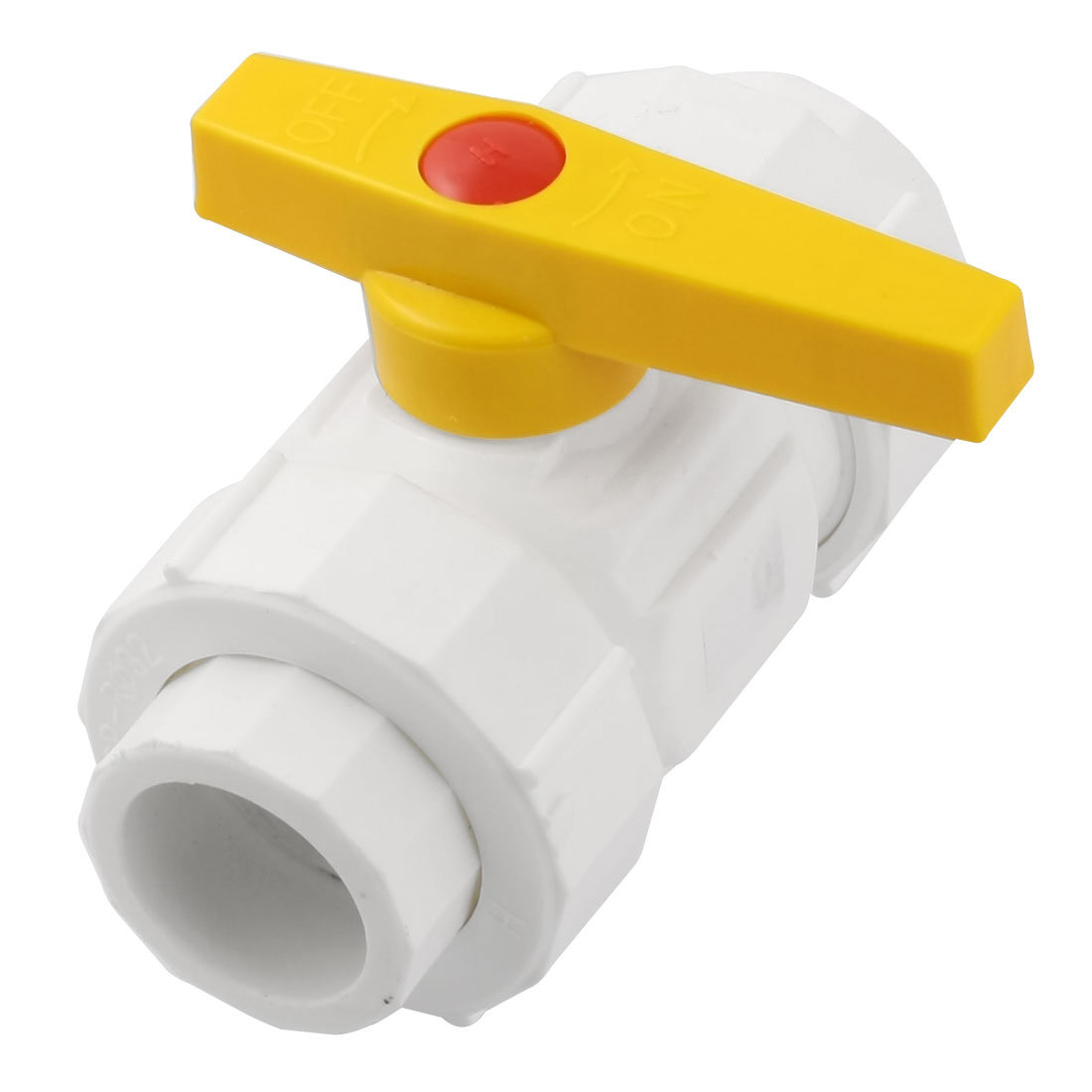 32mm to 32mm Ends Double Headed Union PPR Ball Valve White Yellow