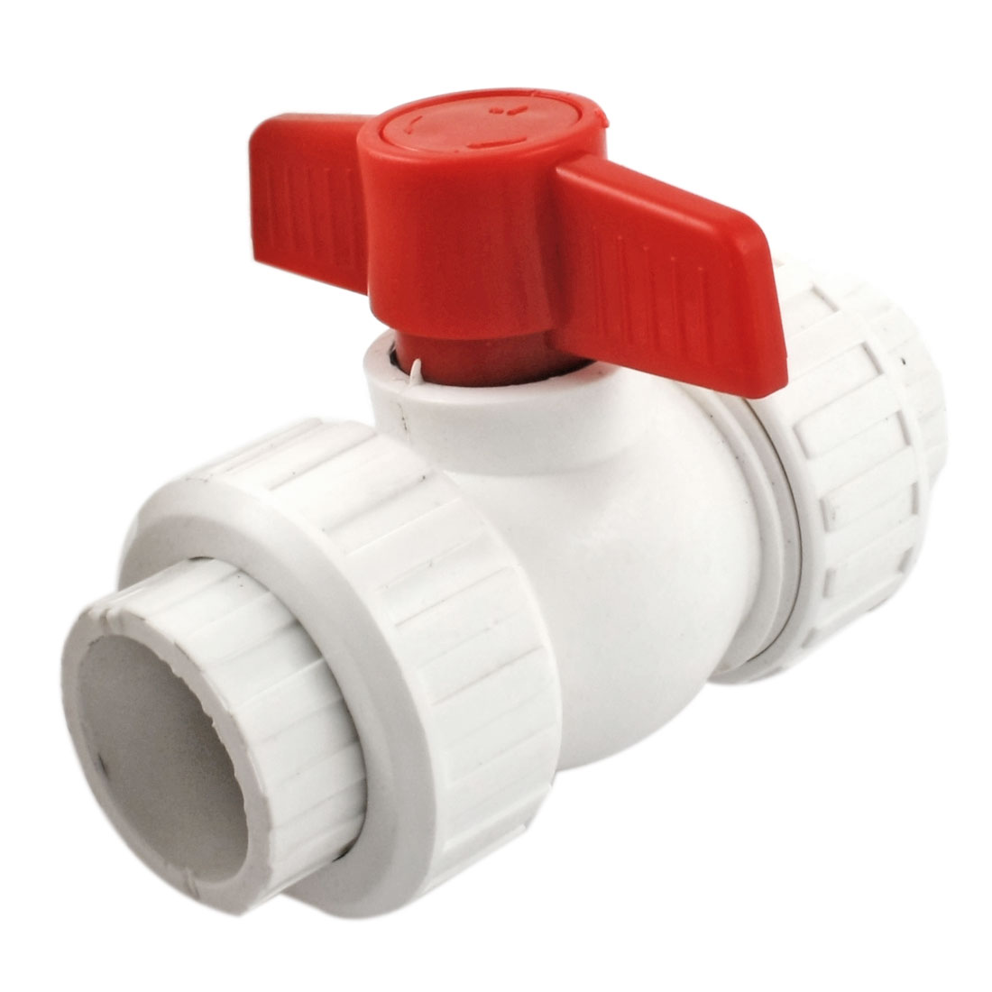 Red T Handle 31x31mm PPR Pipe Fitting Double Union Ball Valve White