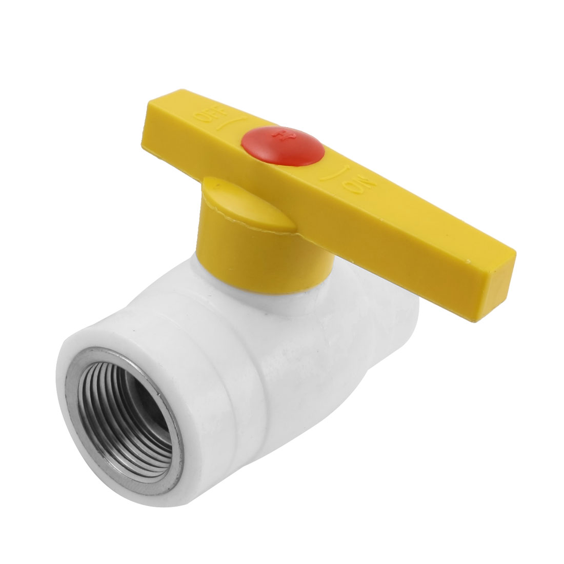 3/4PT F/F Female Threaded 26mm Yellow Plastic T Handle PPR Ball Valve
