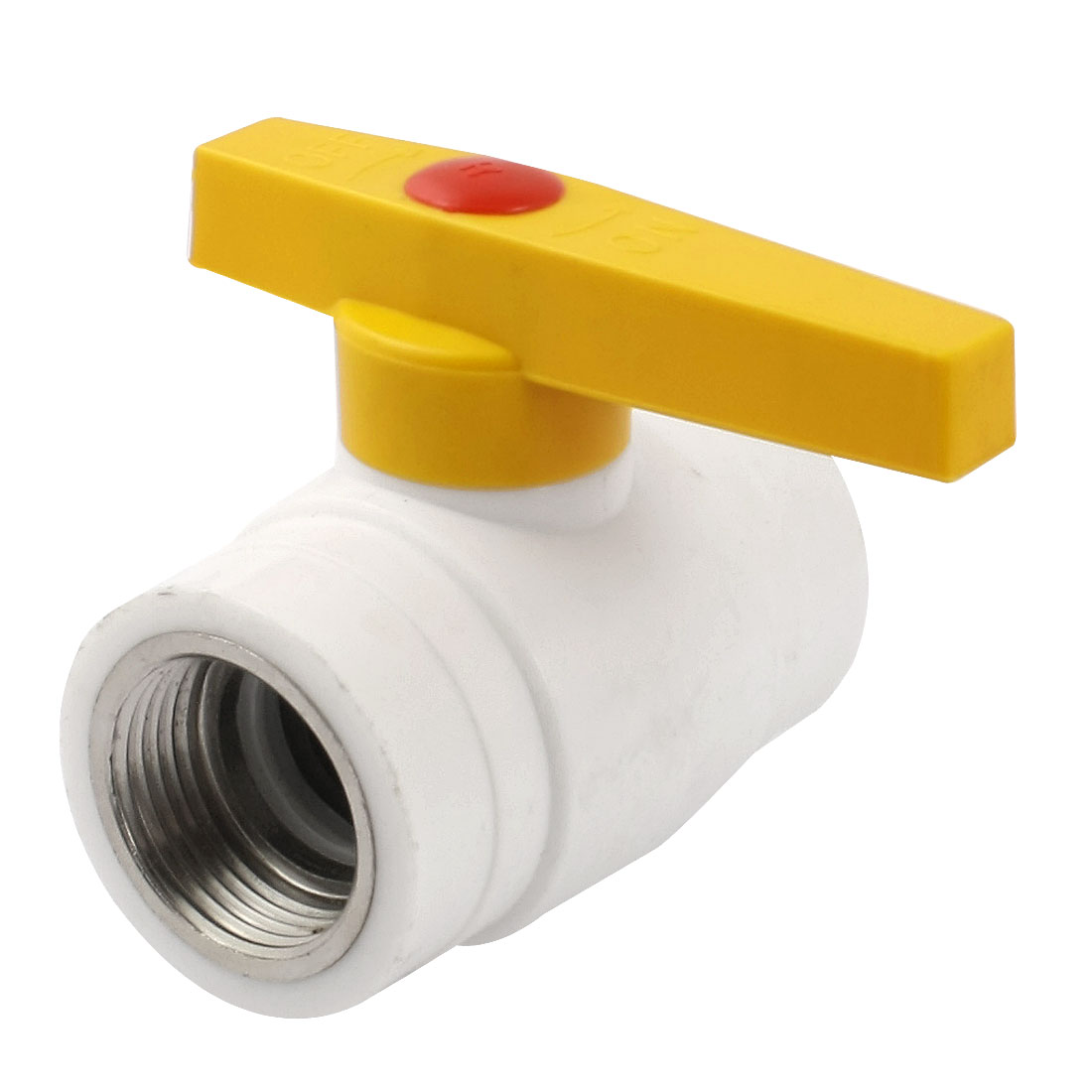 Water Supply 1/4 Turn 1PT Female Thread Dia PPR Ball Valve White Yellow