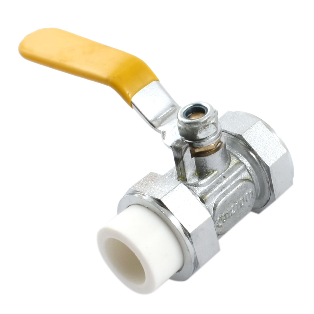 Double Headed 20mm to 20mm Yellow Lever Handle Copper Plating PPR Ball Valve