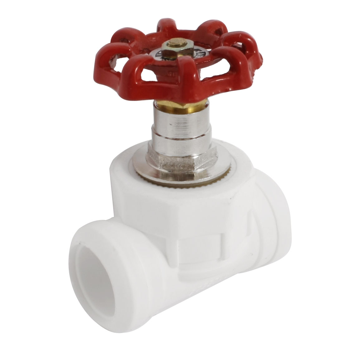 Water Supply 26mm to 26mm Red Handwheel PPR Socket Joint Stop Valve