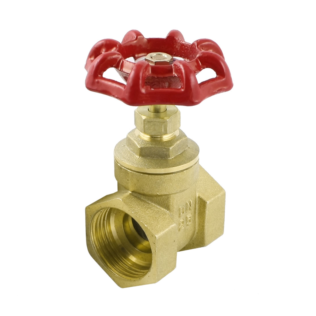 1PT Female Threaded Dual Ports Red Knob Control Water Brass Gate Valve