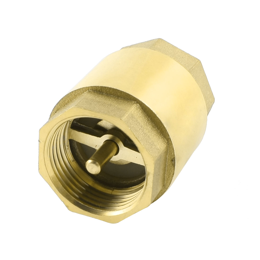 31mm 1PT Female Thread Gold Tone In Line Spring Check Valve