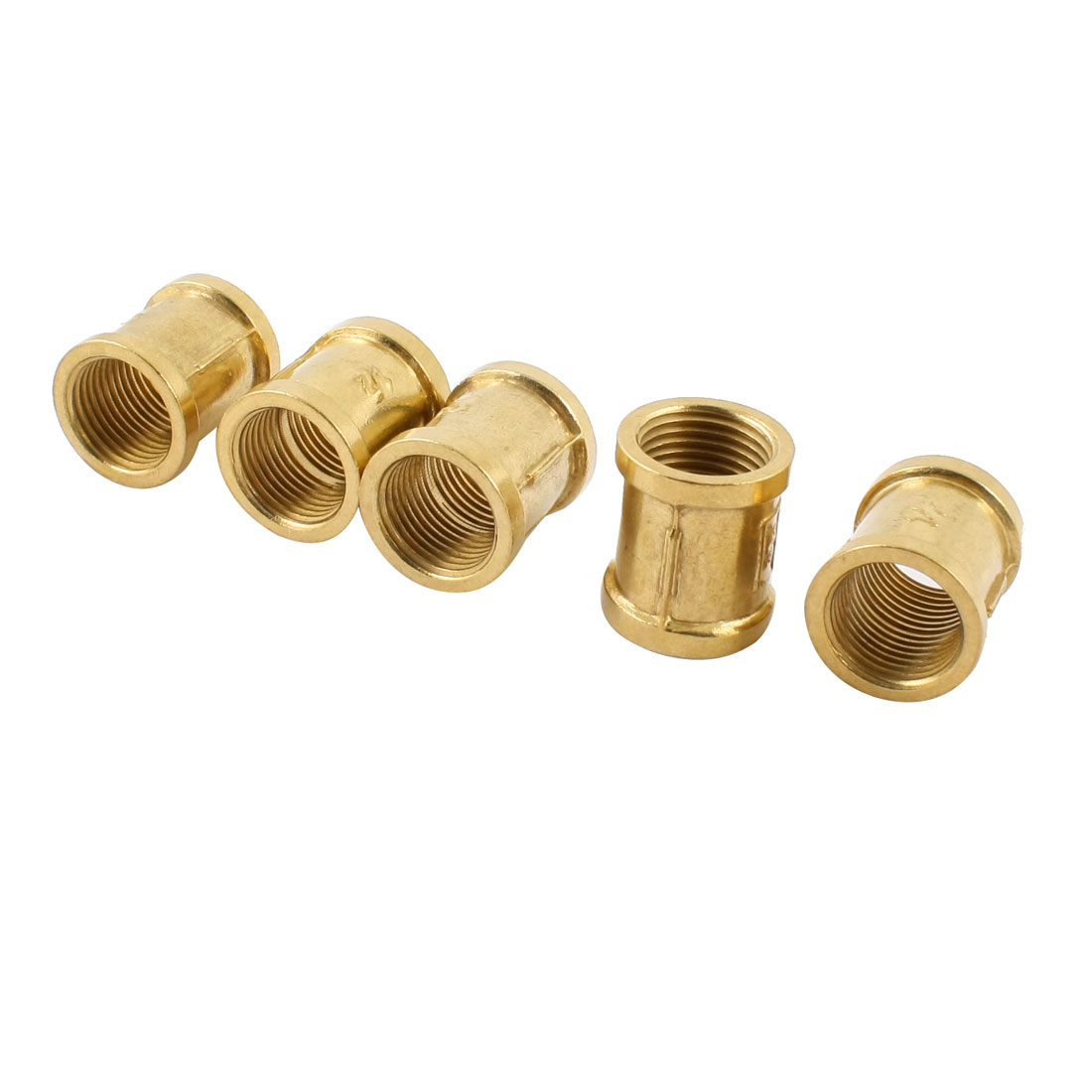 5pcs Gold Tone Brass 1/2PT Female to Female Pipe Fittings Connector