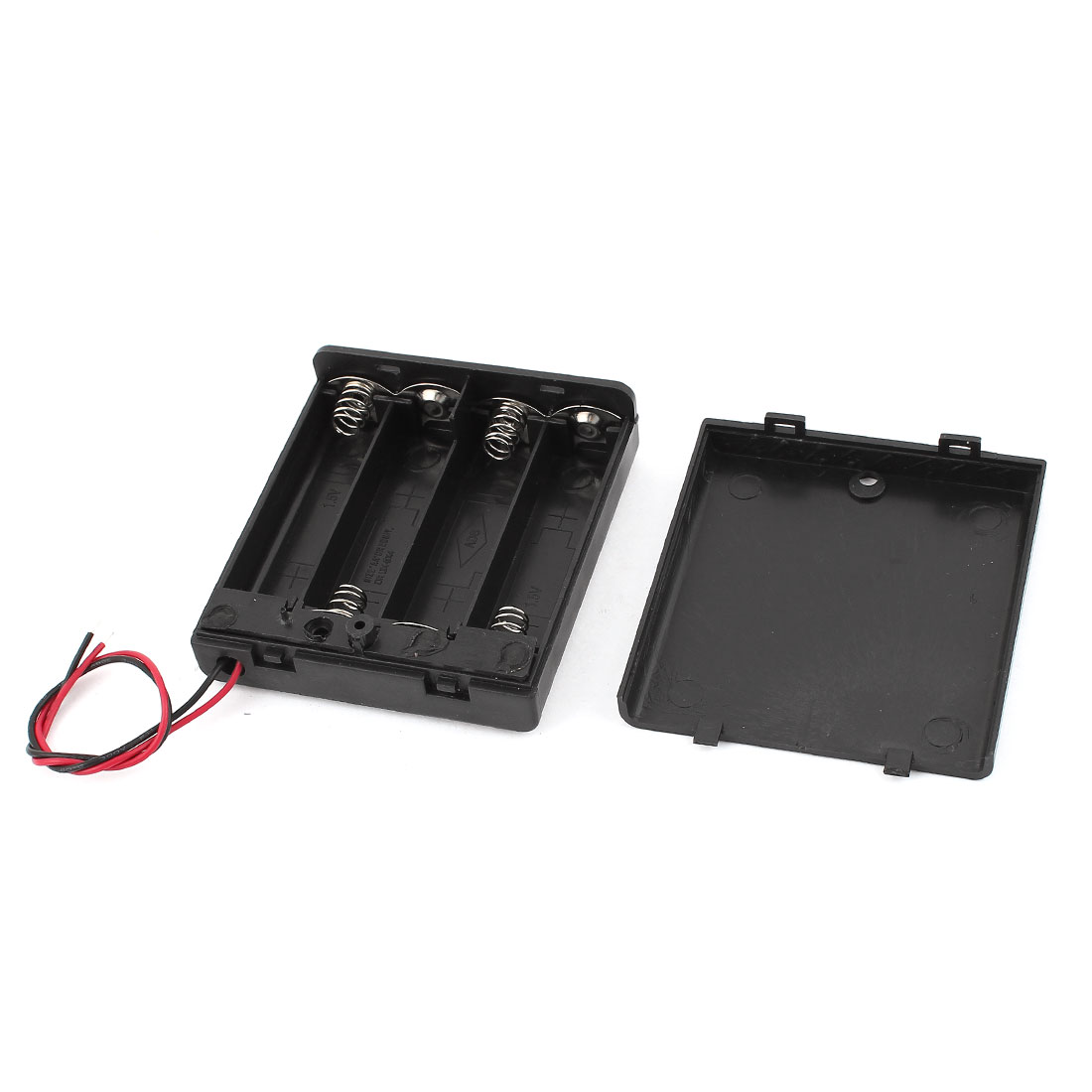 Black Plastic 15cm Wires Leads Switch 4x 1.5V AA Battery Box Case Holder