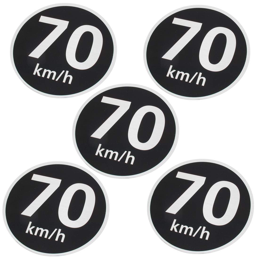 5 Pcs Vehicle 70km Pattern Round Shaped Reflective Light Sticker Decal Black