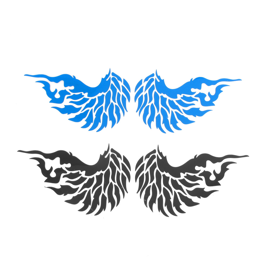 2 Pairs Fire Pattern Blue Black Plastic Reflective Stickers Decor for Vehicle Car
