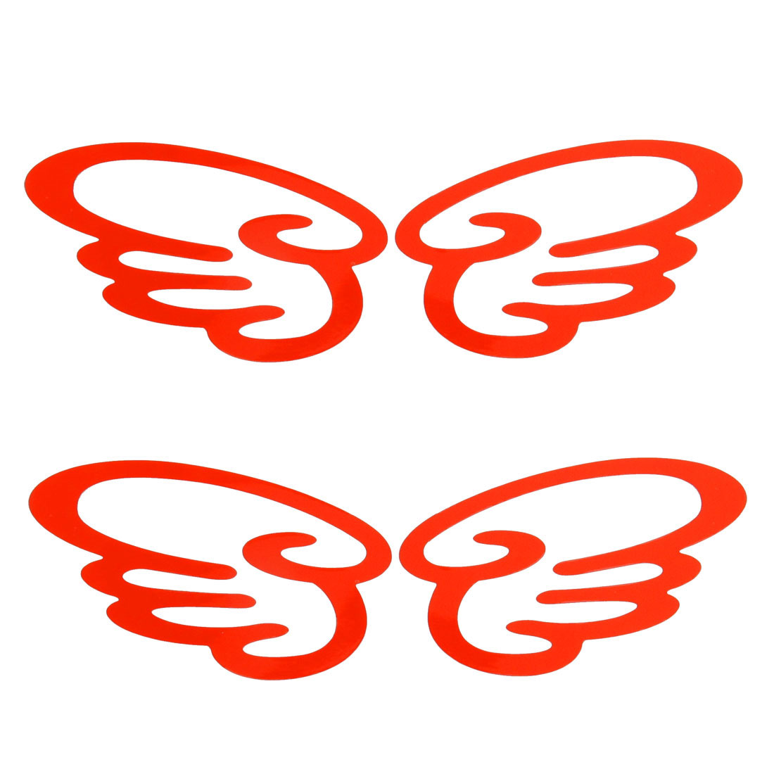 2 Pairs Vehicle Car Wing Shaped Reflective Red Sticker Decal Decor
