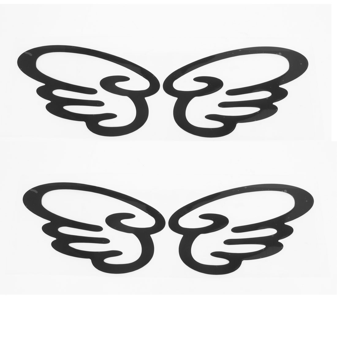 2 Pairs Black Plastic Wing Shape Car Motorcycle Decal Sticker Reflective