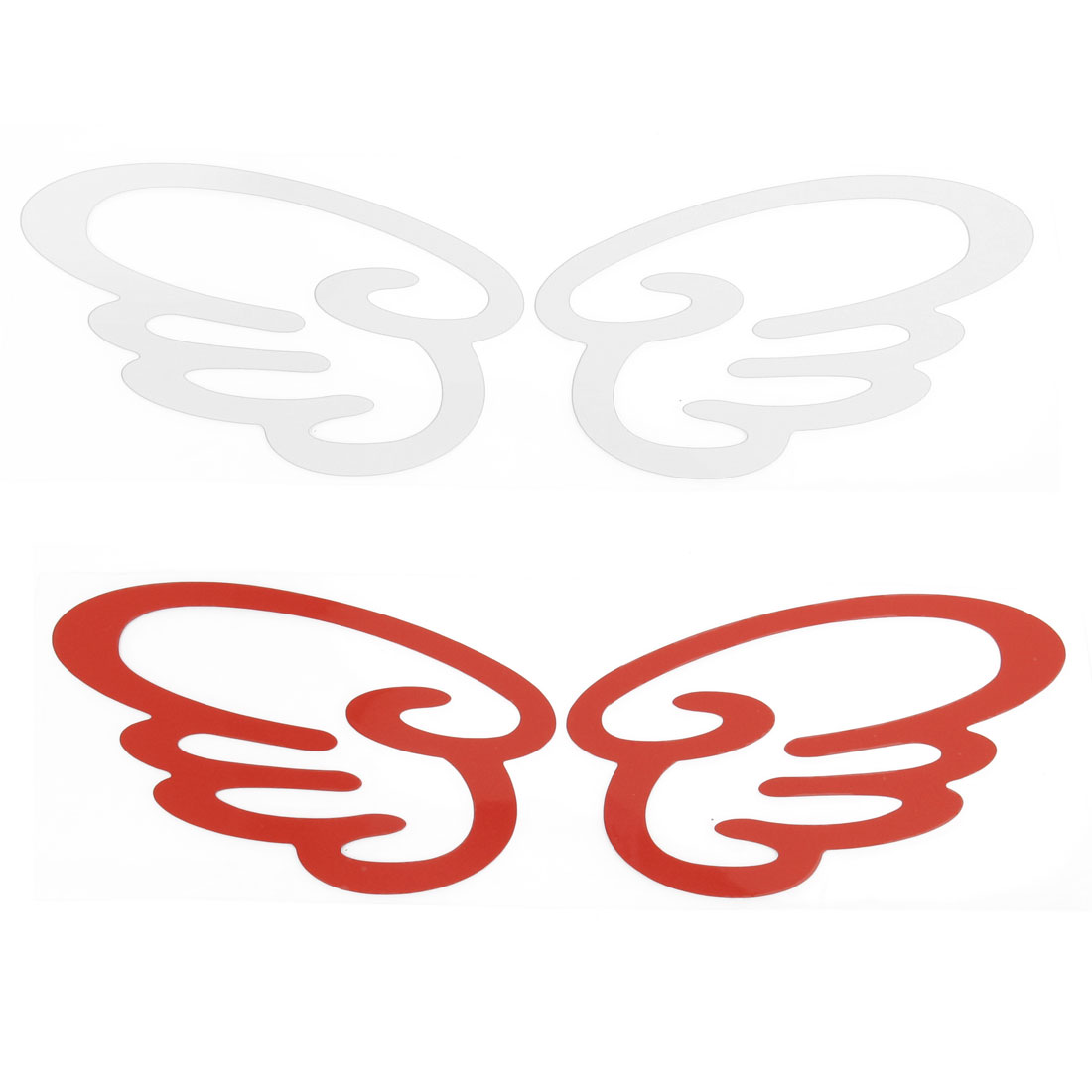 Car Silver Tone Red Wing Shape Decal Reflective Sticker Decor 2 Pairs