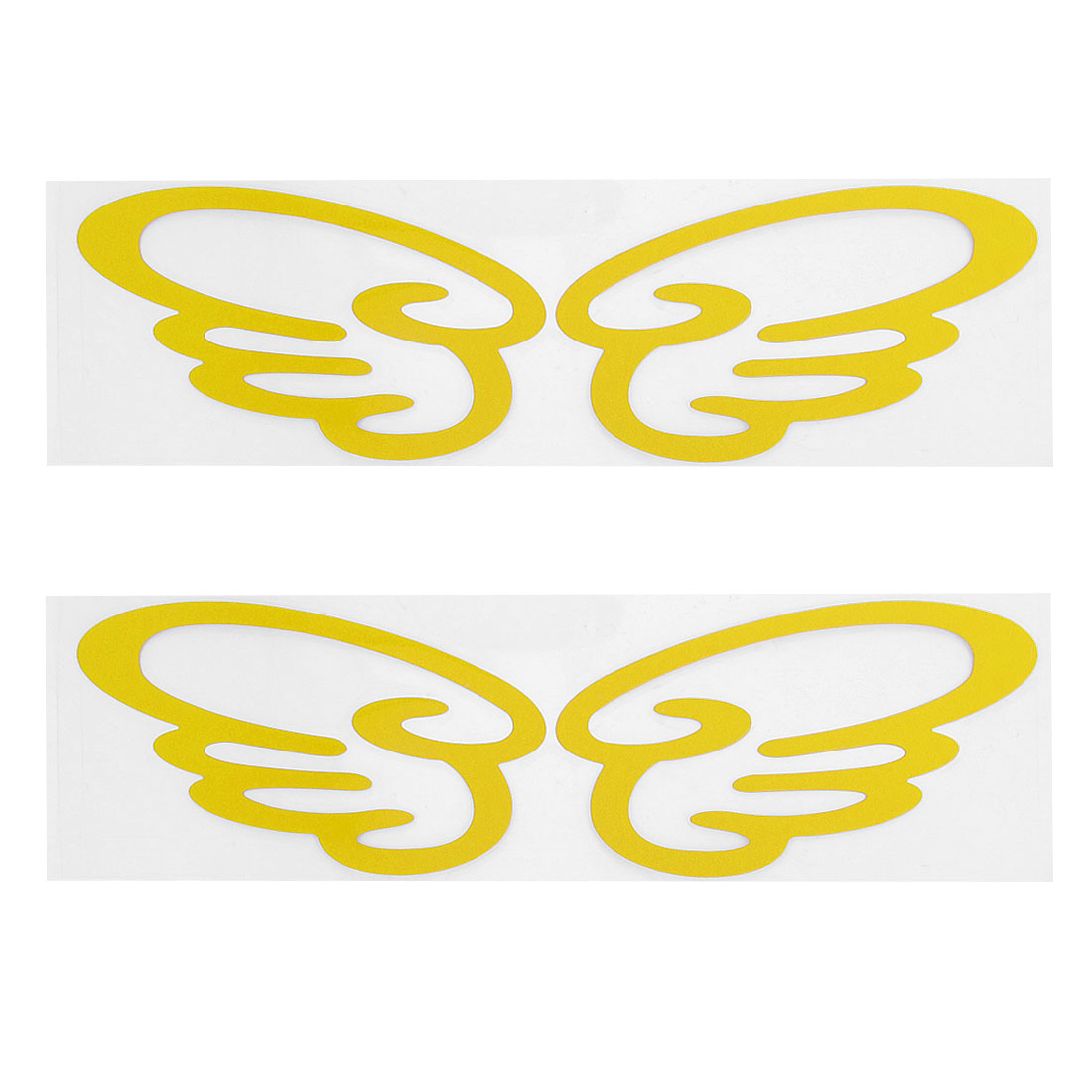 2 Pairs Yellow Plastic Wing Shape Decal Sticker Car Bumper Motorcycle Reflective