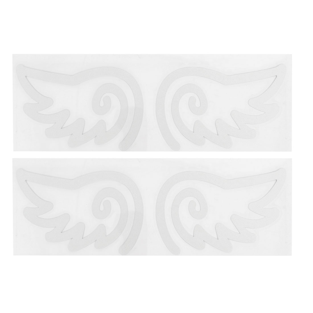 2 Pairs Silver Tone Plastic Wing Shape Reflective Sticker Decal for Auto