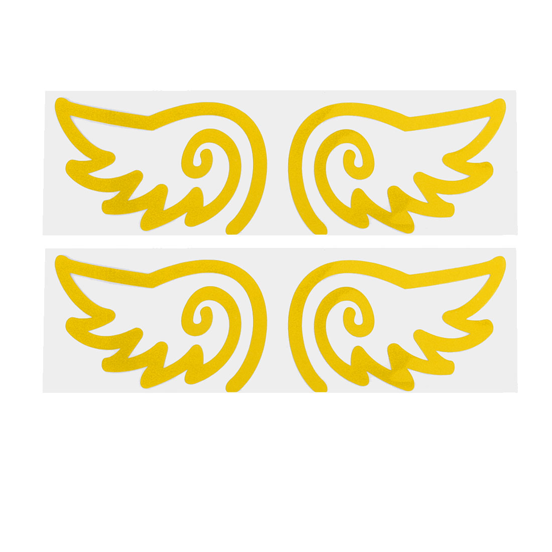 2 Pairs Yellow Wing Pattern Adhesive Reflective Sticker Decal Sign for Car Auto