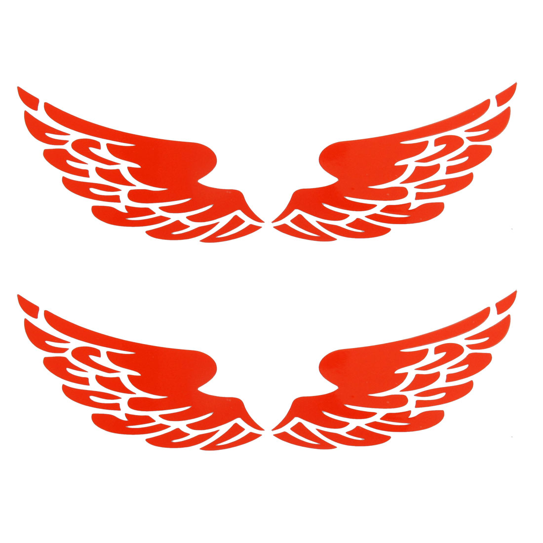 Red Wing Shape Car Motorcycle Decal Reflective Sticker 2 Pairs
