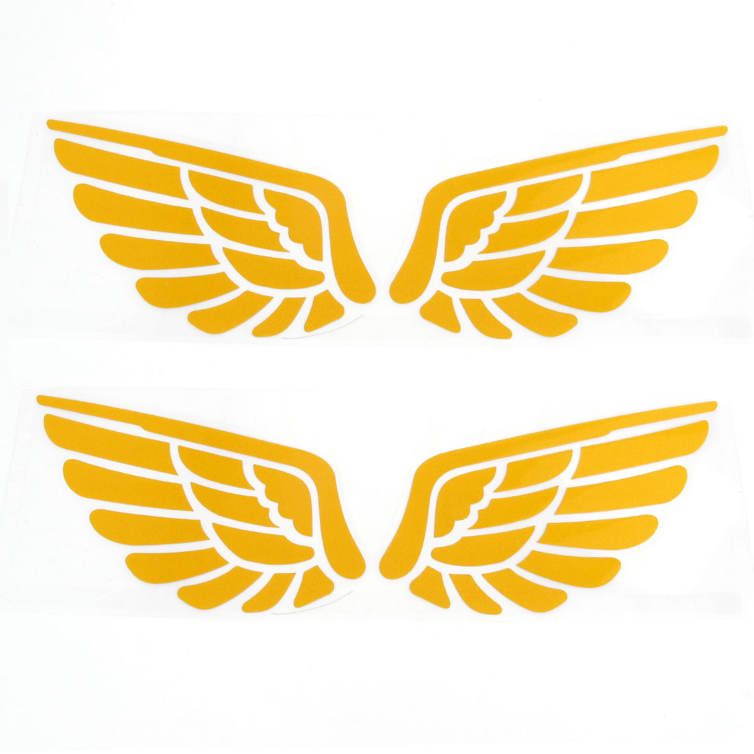 2 Pairs Yellow Wing Styling Plastic Decal Sticker for Car Motorcycle Reflective