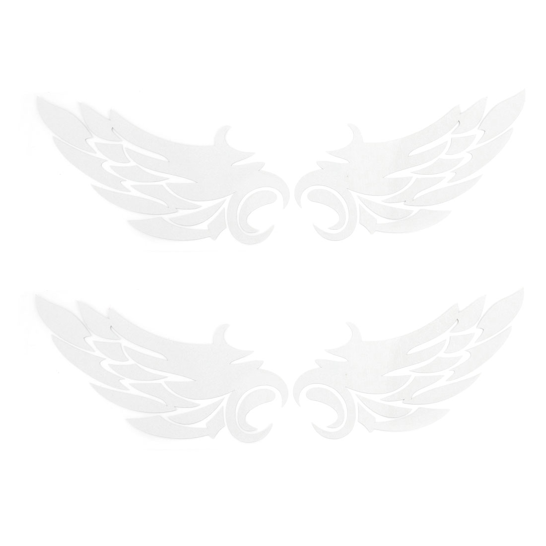 2 Pairs Silver Tone Feather Shape Reflective Decal Sticker for Car