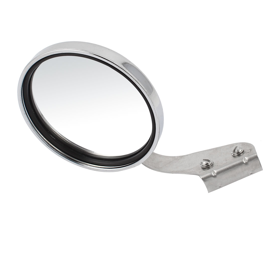 Silver Tone Round Shell Adjustable Angle Left Sideview Assistant Mirror for Car