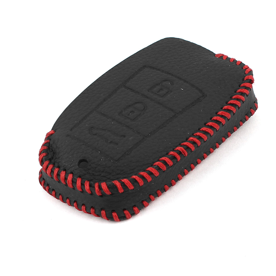Car Black Red Faux Leather Remote Key Holder Cover for Porsche